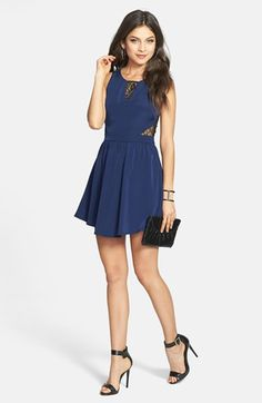 $48, Lace Inset Skater Dress Navy Black Large by Lush. Sold by Nordstrom. Click for more info: http://lookastic.com/women/shop_items/63900/redirect