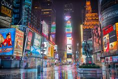 Torrential rain falls on an empty Time Square as Hurricane Sandy hits New York on 29th October 2012