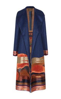 Midnight Wool Mohair Coat With Lurex Landscape Hem by Etro for Preorder on Moda Operandi
