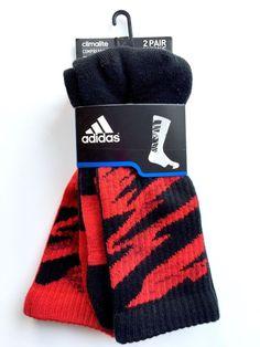Adidas ClimaLite Compression Camo Crew Socks Men's 2 Pair Red Black | eBay