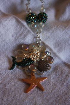 mermaid necklace ocean necklace starfish, bubbles, shells, matching beads, green, sparkle, shine by hudathotjewelry on Etsy
