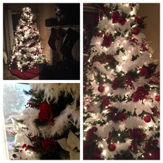 Christmas tree with red roses and white feather boas