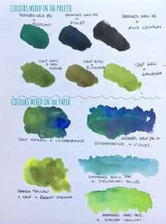 It's much easier loving green if you know which colours to add in! Watercolor Mixing, Watercolor Tips, Watercolor Painting Techniques, Watercolour Tutorials, Painting Lessons, Watercolour Painting, Painting & Drawing, Watercolors, Sketch Drawing