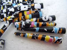 Paper beads in black and multicoloured colour pop x by BeadNutters, £2.25