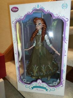 """Disney's Frozen Anna Limited Edition 17"""" Doll (Frozen Fever Disney Store LE) *Limited Edition of 5000 Globally* Certificate of Authenticity in the box Rich velvet costume with bejeweled and embroidere"""