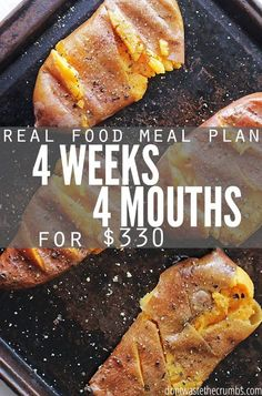 Monthly meal plan on a budget - this real food meal plan is for anyone looking to save money on food. It feeds a family of 4 for $330, includes simple recipes and ideas for breakfast, lunch and dessert. Designed for clean eating whole foods, a great meal plan for eating healthy on a budget!