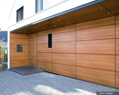Wooden Wall Panels, Wooden Walls, Exterior Cladding, Facade House, Home Renovation, Architecture, House Plans, Garage Doors, House Design