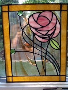 Sale-NO S/H Contemporary stained glass panel with a stunning flower pattern.