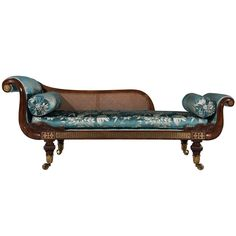 Regency Rosewood Brass Inlaid Couch | From a unique collection of antique and modern chaises longues at https://www.1stdibs.com/furniture/seating/chaises-longues/