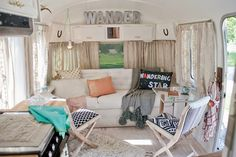 Airstream caravan transformed by Sarah Schneider and Anthropologie Vintage Campers, Camping Vintage, Vintage Airstream, Vintage Trailers, Vintage Rv, Vintage Motorhome, Vintage Travel, Vintage Decor, Airstream Living