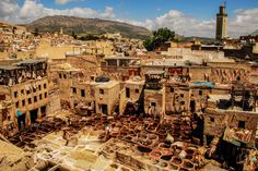 The leather tanneries within the walls of the medina of Fez.  The view was amazing, the smell not so much.