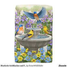 Bluebirds Goldfinches and Fountain Birdbath Kitchen Towels
