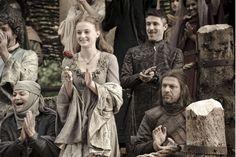 """Syrio Forrel, la septa Mordane, Sansa Stark, Petyr Baelish """"Meñique"""" y lord Eddard Stark, señor de Invernalia"""