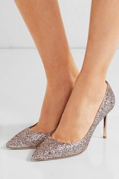 Jimmy Choo - Romy Glittered Leather Pumps - Pink - IT