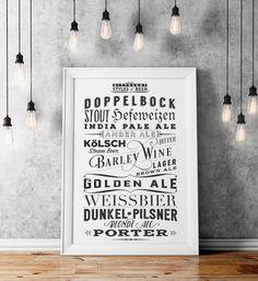 Diferentes tipos de cerveza Poster - impresión tipográfica