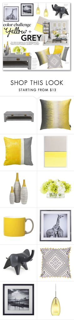 Yellow + Grey: Colour Challenge by lauren-a-j-reid on Polyvore featuring interior, interiors, interior design, home, home decor, interior decorating, Theo & Joe, LBL Lighting, Jonathan Adler and Jaipur