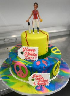 Softball birthday cake My cakes and cookies Pinterest Softball
