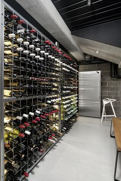 This wine cellar in a home in Melbourne, Australia, designed by Architecton.