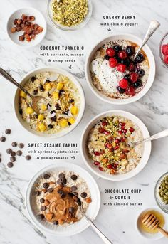 Overnight oats are the BEST make-ahead breakfast, and these 4 variations are eas. - Overnight oats are the BEST make-ahead breakfast, and these 4 variations are eas. Overnight oats are the BEST make-ahead breakfast, and these 4 vari. Healthy Breakfast Recipes, Healthy Drinks, Brunch Recipes, Healthy Snacks, Healthy Eating, Breakfast Ideas, Clean Eating, Breakfast Bowls, Oats Snacks