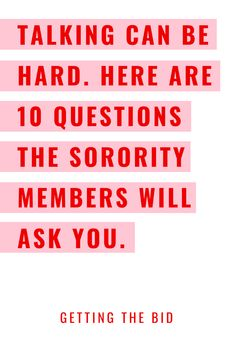 Sorority Recruitment Tips Recruitment Questions, Sorority Recruitment Tips, Sorority Rush Week, Panhellenic Recruitment, Sorority Recruitment Outfits, Sorority Gifts, Fun Questions To Ask, Job Interview Questions, Panhellenic Council