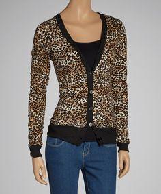 Heart & Hips Brown Leopard Cardigan by Heart & Hips #zulily #zulilyfinds
