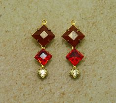 2 pc 29x11 dangles  Vintage Faux Carnelian and by MoonSpheres