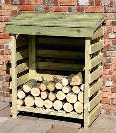 Off the ground Log Store - Fire Wood Storage - Log Hut Outdoor Firewood Rack, Firewood Shed, Firewood Storage, Shed Storage, Storage Ideas, Storage Rack, Lumber Storage, Outdoor Storage, Kitchen Storage