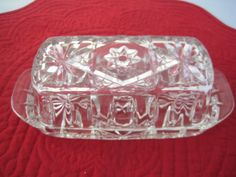Glass Star of David Collectible Vintage Butter Dish with Lid