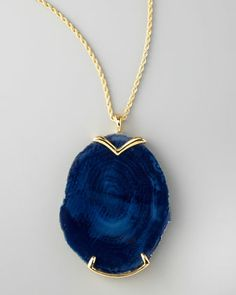 Blue Agate Pendant Necklace by Kenneth Jay Lane at Neiman Marcus.