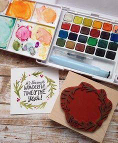 A neat idea: use watercolours directly on stamps to create painterly effects. Would work best on less detailed or hand carved designs, I think.
