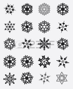 Copo de nieve del invierno Conjunto de ilustraci n Foto de archivo