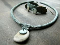 Zsazsazsu's crocheted necklace and bracelet with hand drilled river stones and pebbles as accents.