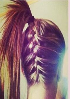 This is a really pretty hairstyle and it is so easy to do as long as you know how to do a French braid. All you have to do is French braid the bottom of your hair going all the way up into a high pony tail. This is a great idea for cheer and gymnastics or even basketball. Try it out and show off your style. *.*