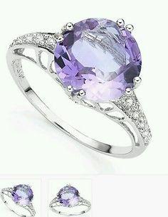 3.30 CT Amythest  2 White Diamond 925 Sterling Silver Gemstone Ring AU $60