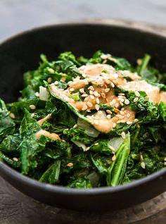 Sautéed Kale with Tahini Sauce ~ Chopped kale sautéed with onions ...