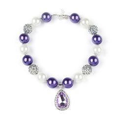 Purple Diamond Beaded Necklace