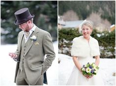 Winter wedding style #grooms #tophat  Wedding in Mont Blanc   Image by Mille & Belle Photography