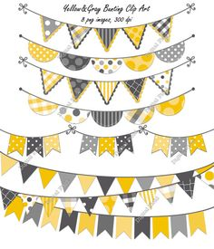 INSTANT DOWNLOAD Yellow and Gray Bunting Clip Art by digitalfield, $3.25
