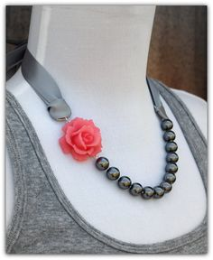 Pink and Grey Ribbons and Pearls by ChristaMarieBoutique on Etsy