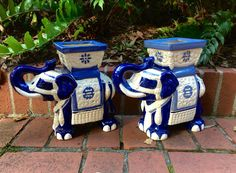 Pair Vintage Blue and White Elephant by PalmettoHouseVintage