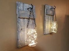 Rustic Home decor, Mason Jar candle holder, Rustic decor, Housewarming gift, wood decor, Farmhouse decor, Firefly light, sconces set of 2.