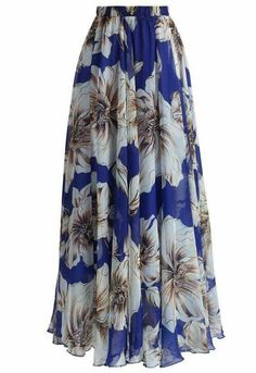 Marvelous Floral Chiffon Maxi Dress in Yellow - Retro, Indie and Unique Fashion Long Blue Skirts, Long Maxi Skirts, Summer Skirts, Summer Maxi, Summer Wedges, Midi Skirts, Summer Beach, Unique Fashion, Maxi Skirts