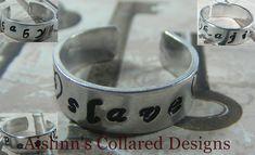 BDSM Gorean Handstamped Ring Adjustable by aislinnscollared