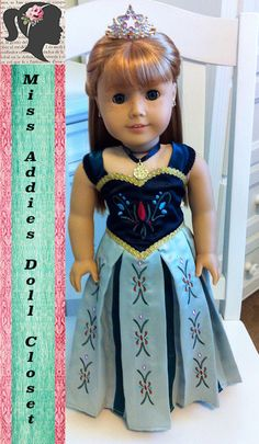 Disney Inspired Frozen Princess Anna's Coronation Embroidered Skirt 18 inch American Girl Doll Dress