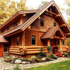 Harbor Springs hybrid log home by Timber Wolf Handcrafted Log Homes of Cross Village MI.