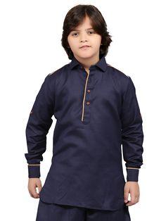 G3 Exclusive Cotton Plain Festive Wear Navy Short Pathani