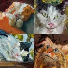 Image result for watercolor artists cats 1970's
