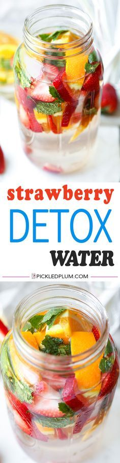 Strawberry Detox Water-Make this invigorating, fruity and naturally sweet Strawberry Detox Water in 5 minutes or less. Perk up and hydrate all in one glass of goodness that just screams summertime! Recipe, healthy, drinks, vegan, gluten free, infused water | pickledplum.com
