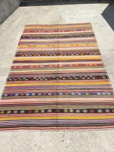 290x183 cm 9.5x6 feet Colorfull Kilim Striped Kilim Rug Handwoven Kilim Home Living Kilim Rug Turkish Decor Kilim Tribal Kilim Ethnic Kilim