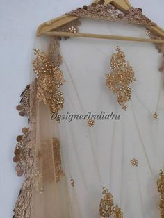 Designer Indian Traditional Golden Dupatta Chunni Stole Scarves embroiderd Net for Lehenga Suit Salwar Kameez for Women and Girls Party Wear Golden Dupatta, Girls Party Wear, Lehenga Suit, Gold Scarf, Nikkah Dress, Yellow Saree, Fabric Design, Indian, Traditional